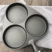 Poêle en fonte épaissie, Omelette à trois trous, sans revêtement, non adhésive, boulettes d'oeufs, wok en fer brut