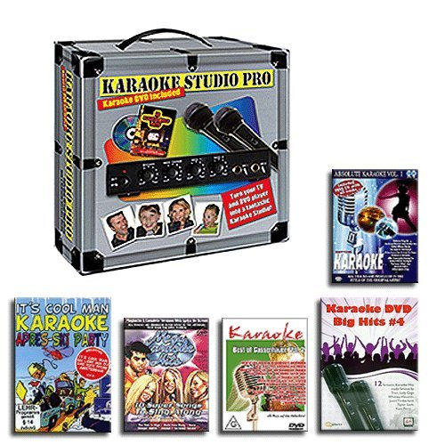 KARAOKE ANLAGE + 2 MIKROFONE + 5 PARTY DVD SET – KARAOKE STUDIO PRO