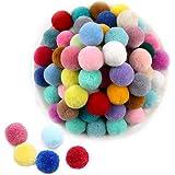 Aweisile Pompon 200 pièces Pompons Couleur Pompons 2cm Pompons Artisanat Élastique Décorations Boules Mini Pompons pour Décor