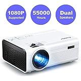 Crosstour Proiettore, Mini Videoproiettore Portatile, Home Cinema Supporta Full HD, 55000 Ore LED con HDMI USB TV Box TV Stick Micro SD PS4 (Cavo HDMI/AV Incluso)