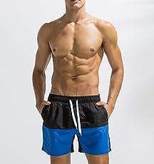 DHG Jugend-Trend-Shorts, Farblich Passende Beach-Hosen für Männer, Schnell Trocknende, Große Badehosen, Heiße Sporthosen für Den Frühling, Lockere Strandhose mit Fünf Punkten,Preußischblau,XL