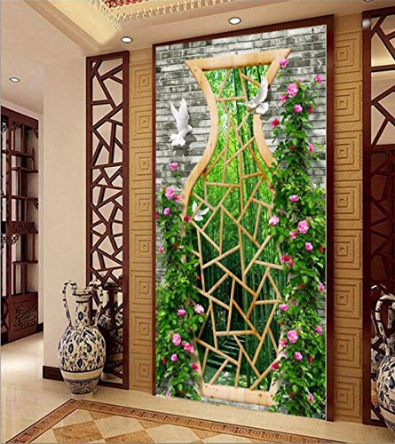 Poowef 3D Wallpaper The Stereo Hyun Off The Road Corridor Restaurants Chinese Vase Glass Flowers Carved Cane Bamboo Background Wall Paper Wallpaper