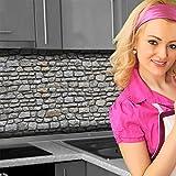 Küchenrückwand < Naturstein Grau > Premium Hart-PVC 0,4 mm selbstklebend 220x60cm