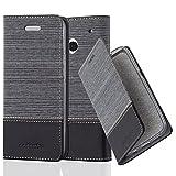 Cadorabo Hülle für HTC ONE M7 (1. Gen.) - Hülle in GRAU SCHWARZ – Handyhülle mit Standfunktion und Kartenfach im Stoff Design - Case Cover Schutzhülle Etui Tasche Book