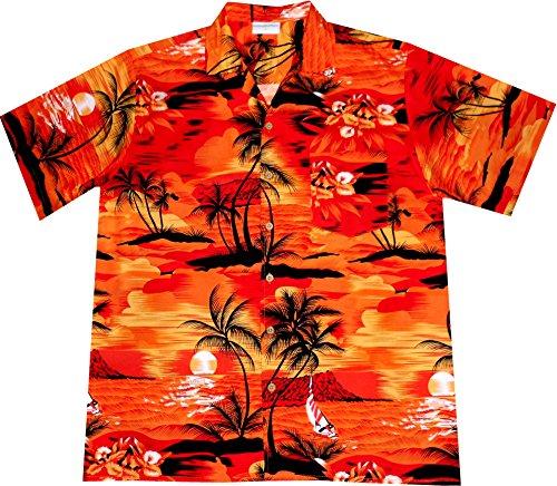 Camisa-Hawaiana-Hombre-Evening-on-Hawaii-100-algodn-tamao-M-naranja