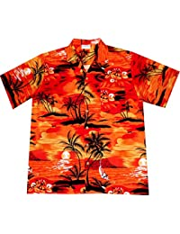"""Chemise Hawaienne Homme """"Evening on Hawaii"""" 100% coton, taille M – 6XL, orange"""