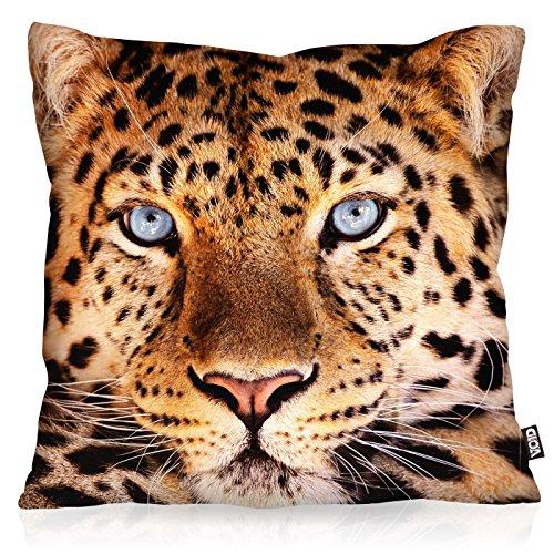 VOID Leopardenkopf Kissenbezug Kissenhülle Outdoor Indoor Leopard, Kissen Größe:40 x 40 cm (Leopard Kissen)