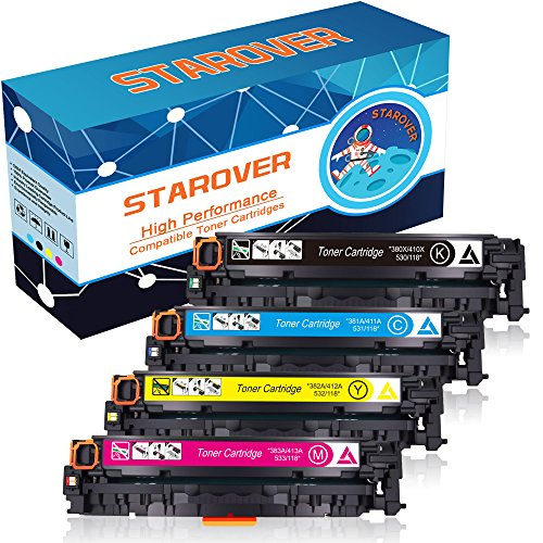 STAROVER 4x Kompatible Tonerkartuschen Für HP 305A (CE410A-CE413A), 305X (CE410X CE411X CE412X CE413X) für HP Laserjet Pro 300 color MFP M351 M351a M375 M375nw / HP Laserjet Pro 400 color MFP M451dn M451 M451dw M451nw M475 M475dn M475dw Drucker - 1 Schwarz + 1 Cyan + 1 Magenta + 1 Gelb