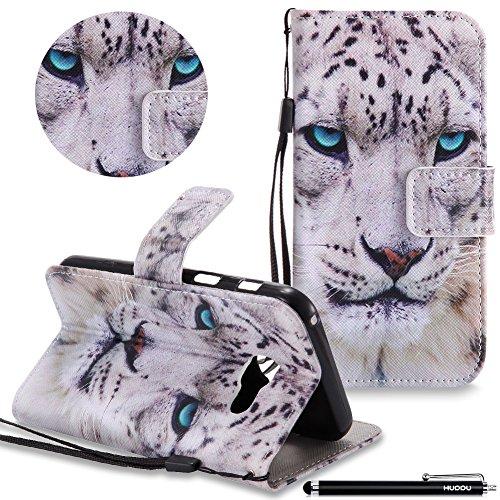 HUDDU Compatible for Leopard Handyhülle Samsung Galaxy A3 2017 Hülle Flip Cover Wallet Case Ledertasche Kartenfach Magnet Stand Lederhülle Etui Handytaschen Schutzhülle Tasche Leder Klapphülle Bunt