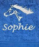 md-design Duschtuch mit Pferde Motiv Pferd und Wunschname Bestickt, 70x140cm, in Verschiedene Farben, 500 gr/qm - schwere Qualität, 100% Baumwolle, Uni-Walkfrottier Farbe royal