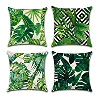 YOURSEE Tropical Leaves Party Decorations Set of 4, Decorative Throw Pillow Covers 18 x 18 with Tropical Palm Monstera Leaves Print for Summer Green Decor for Sofa, Couch and Patio