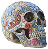 Summit Collection Day of The Dead Sugar Skull Colorful Floral Skull Statue