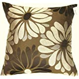 STUNNING CREAM BROWN EMBROIDERED CUSHION COVER