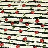 Stoffe Werning Baumwolljersey Rosen & Streifen rot schwarz Modestoffe Blumen Öko-Tex - Preis gilt für 0,5 Meter