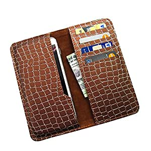 i-KitPit : PU Leather Wallet Flip Pouch Case For Panasonic T31 (BROWN)