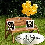 Goldene Hochzeit Set Kissen Schwarz: Gartenbank Holz mit personalisierter Gravur, Luftballons Zwei Kissen Geschenk - persönliche Geschenke zur goldenen Hochzeit