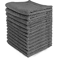 Utopia Towels Luxury Cotton Washcloth Towel Set (12 Pack, 30 x 30 cm) Multi-purpose Extra Soft Fingertip Towels, Highly Absorbent Face Cloths, Machine Washable Sport and Workout Towels (Grey)