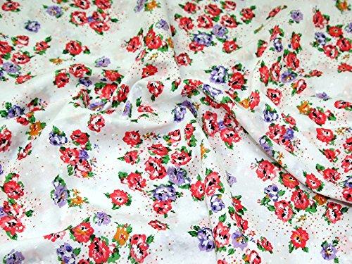 Minerva Crafts Floral Print Corsage getuftet Baumwolle Kleid Stoff Coral Pink & Lila-Meterware Floral Swiss Dot