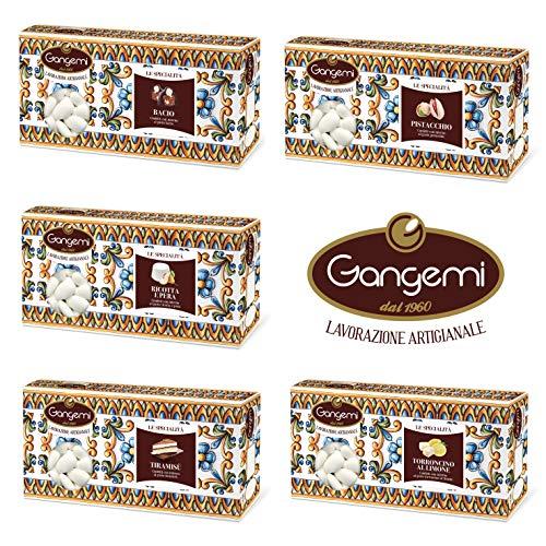 Gangemi confettata classica - confetti artigianali con mandorla ripieni al gusto: bacio, pistacchio, torroncino al limone, ricotta e pera, tiramisù - pacco da 5 x 1000 g