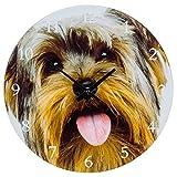 Yorkshire Terrier 17cm–Reloj de pared reloj de cristal/reloj de chimenea (57653)