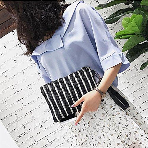 Longra Donna Borse a mano in sacchetto di paglia della borsa a mano verticale Nero