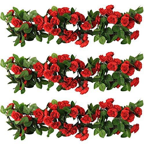 yiliyajia Rose Girlande künstliche Rose Rebe mit grünen Blättern 63 Zoll Packung von 3 Blume Girlande für zu Hause (rot) -