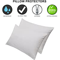 Dream Care Waterproof Dust-Proof Pillow Protector, 18 x 28 Inch, Set of 2, White