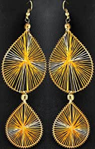 Exotic India Earrings with Thread Work - Copper Alloy