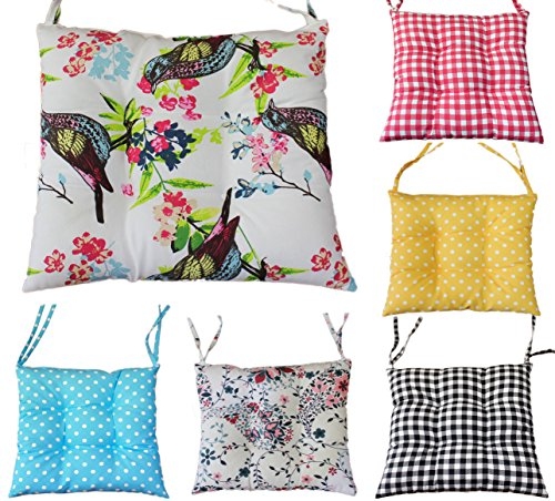 Comfortable Seat Pads, Garden Kitchen Dining Chair Cushions Many Designs Tie On (Birds)