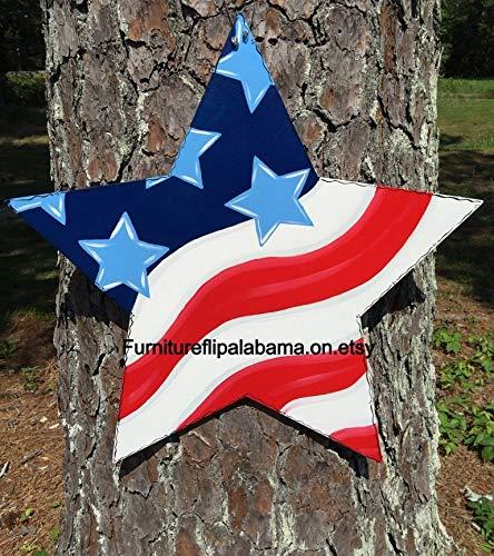 Ruskin352 4. Juli Türhänger Stern Türhänger Flagge Türhänger Patriotische Türhänger Fahne Tür Deko Gedenktag Dekoration