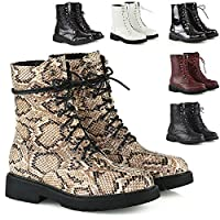 Womens Lace Up Ankle Boots Chunky Grip Sole Ladies Winter Retro Combat Goth Biker Military Army Shoes Booties Size 3-8