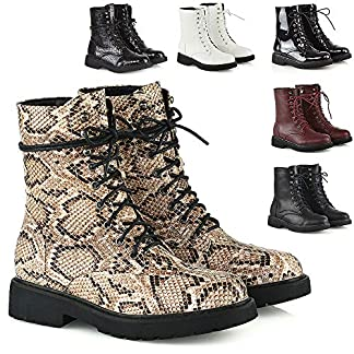 - 61WmEXsy71L - Womens Lace Up Ankle Boots Chunky Grip Sole Ladies Winter Retro Combat Goth Biker Military Army Shoes Booties Size 3-8
