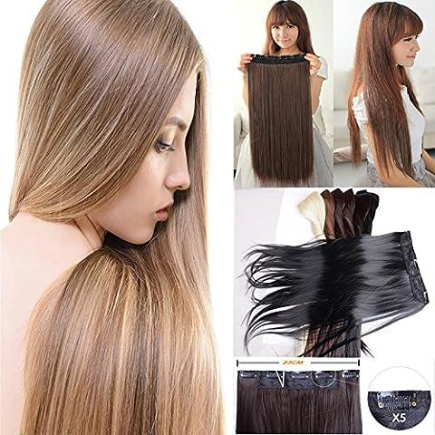 nutbio (TM) lungo 30cm 76cm Sintetico clip in capelli estensioni capelli lisci estensione in fibra ad alta temperatura Medium Brown