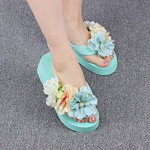humefor Hohe Plattform Keil Blume Flip Flops Sommer Strand Sandalen für Frauen Mädchen Grün