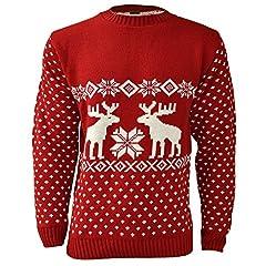 Idea Regalo - Maglione natalizio per uomo, motivo renne Red Large