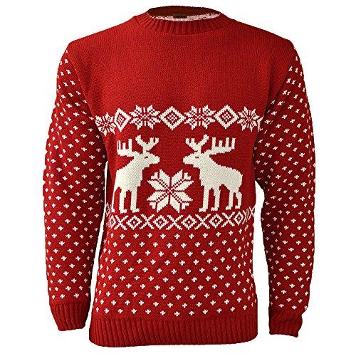 maglione natalizio per uomo, motivo renne red x-large