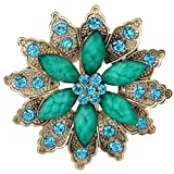 Yazilind Vintage Silver Plated Green Flower Crystal Korean Brooch Pin For Women