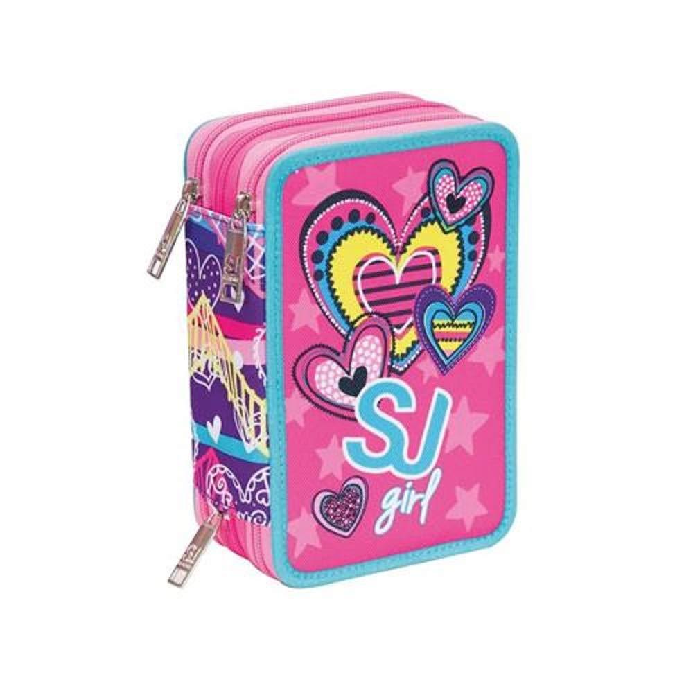 Estuche escolar triple completo SJ Gang Girl Heart rosa 3 cremalleras