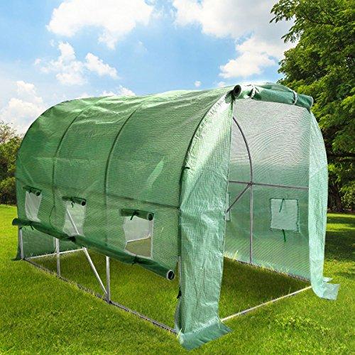 BRAST Gewächshaus mit Stahlfundament Foliengewächshaus Treibhaus Tomatenhaus Pflanzenhaus mit aufrollbarer Folie Größe 2x3m