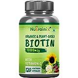 Nutrainix Organic Biotin with Vitamin C for Longer Hair Growth, Glowing Skin & Thicker Nails Health 100% Organic Biotin Suppl