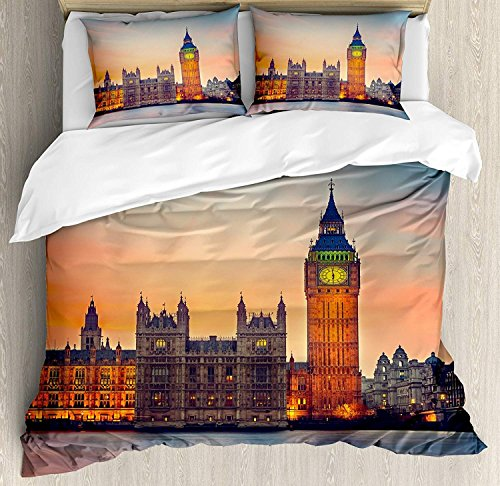 London 3 Stück Bettwäsche Set Bettbezug Set, Fairy View von Big Ben und Houses of Parliament in der Abenddämmerung in London British Urban Town, 3 Stück Tröster / Qulit Cover Set mit 2 Kissenbezügen, -