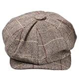 Phenovo Uomo Donna Strillone Golf Gatsby Tweed Sole Basco Cappello Berretto Sport Kaki
