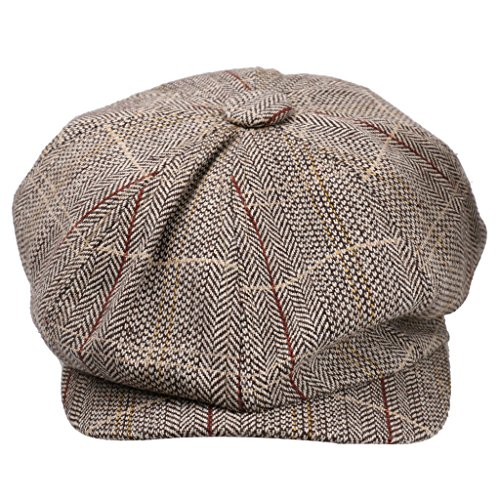 Hut Newsboy Tweed (Phenovo Newsboy Golf Flach Gatsby Tweed Sonnenhut Land Barett Bäcker Kappe Khaki - Khaki, one)