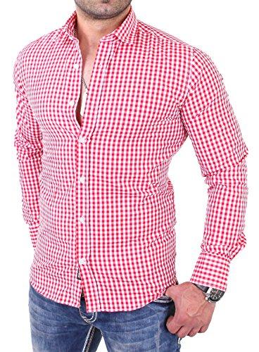 Reslad Kariertes Hemd Herren Slim Fit Bügelfreies Freizeithemd Trachtenhemd Karo  Hemd RS-7007 Rot ... dfa74ece99