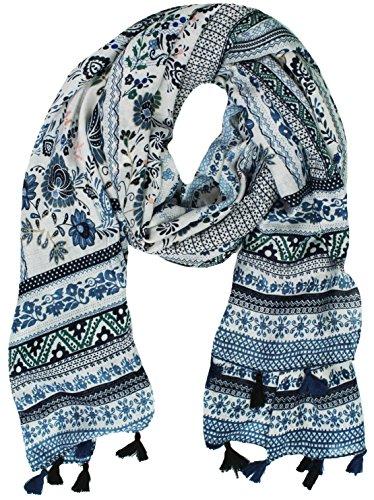Vintage-print-muster (Mevina Damen Schal mit Quasten Bommel Paisley Retro Vintage Blumen Print Muster groß Tuch Halstuch Blau T2440)