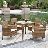 IKAYAA H0067 - Cojunto de Muebles de Ratán 5Pcs para Jardín Terraza Patio Aire Libre (sólo enviamos a españa peninsular)