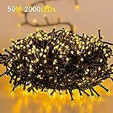 Ulinek Catena Luminosa Stringa Luci 50m 2000LED, Decorative 8 Modalità IP44 Decorativa Interni Esterni Bianco Caldo Bassa Tensione per Feste Giardino Natale Casa