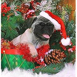 Poster CARLINO de Navidad diseño con texto en inglés de cachorro de perro