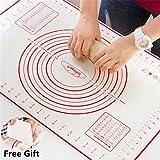 Silikon Backmatte Teigmatte Backfolie Hitzbeständige Arbeitsmatte für Fondant Nonstick Maße Fondant Teig Gebäck Backmatte 60 * 40cm, für Hausfrau, Kochen Enthusiasten (Rot + Teigspachtel)