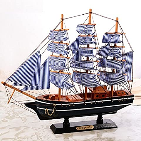 K&C HMS Bounty Starter Boat Kit USS Constitution Tall Ship Sailing Ship Sailing Boat Wooden Model Craft Decor 30cm Blue
